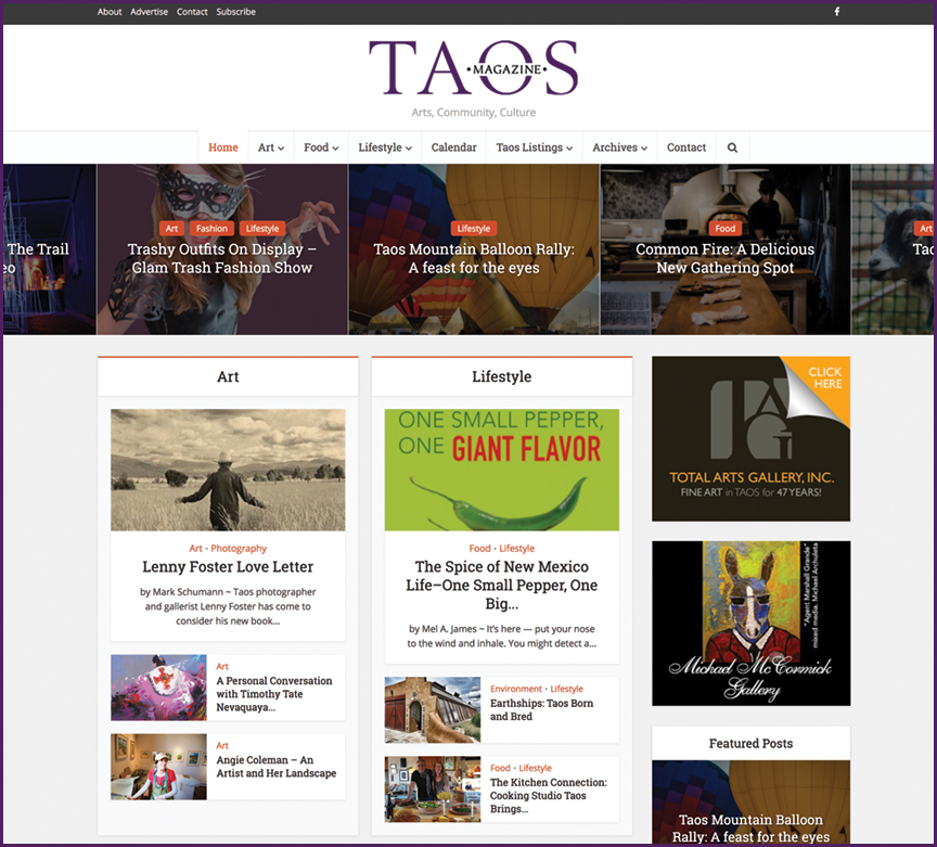 Taos Magazine - website