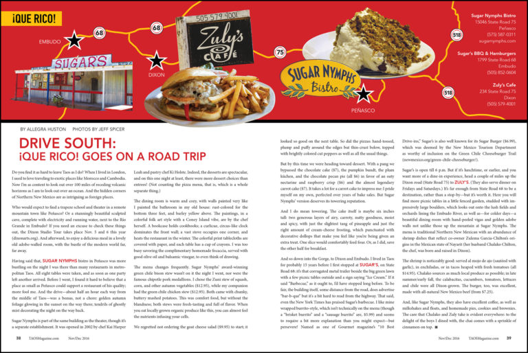 ¡Que Rico! Goes On a Road Trip - Taos Magazine - Taphorn Design