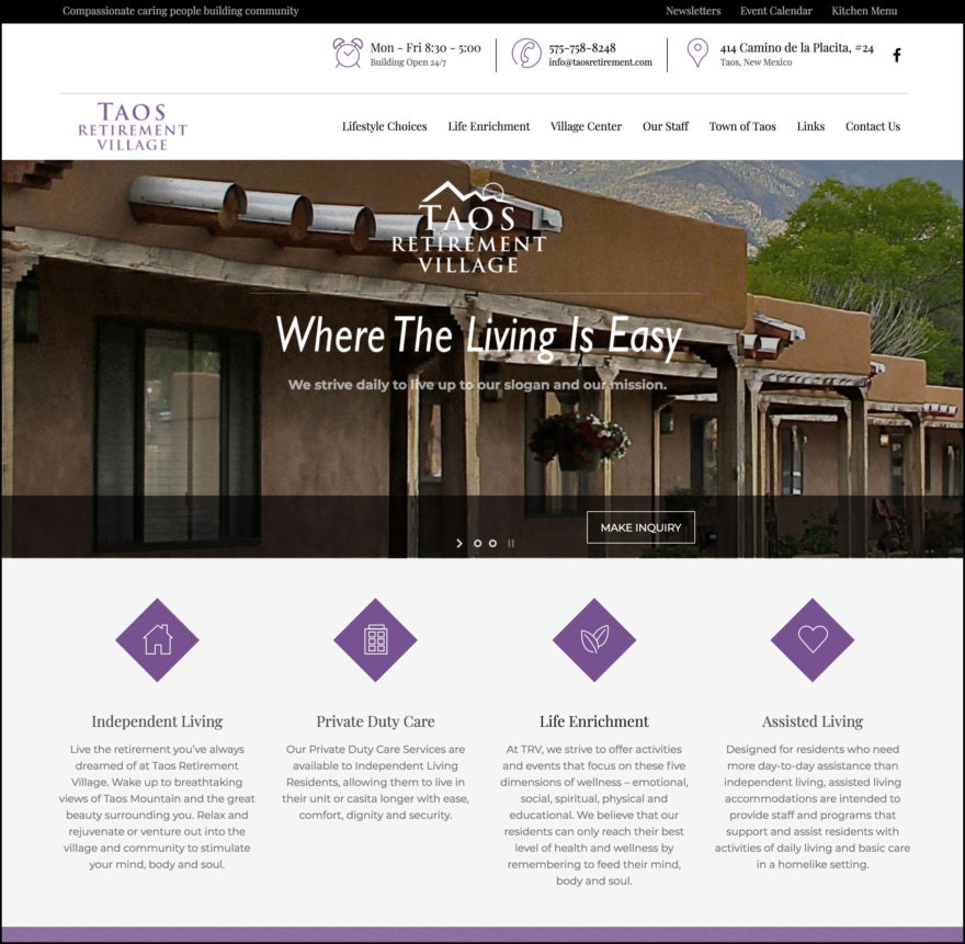 Taos Retirement Village homepage
